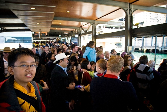 People Line up for Sydney Ferry