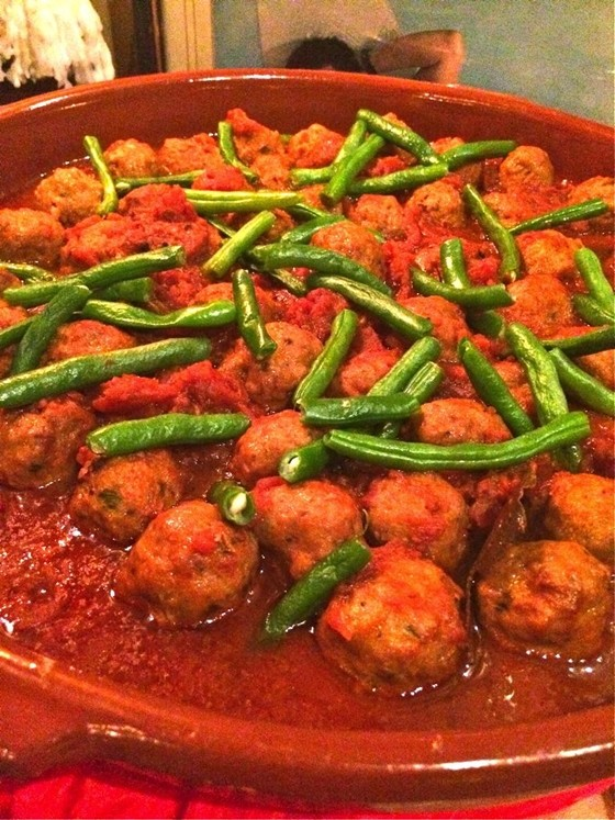 Albondigas or Spanish meatballs with green beans