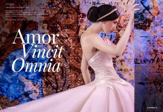 From the Illustrado Fashion Editorial - Amor Vincit Omnia Haute Couture – Ezra Santos; Creative Director - Michael Cinco; Photography - Jef Anog; Hair & Make-Up - Valentino Montuerto Jasmin; Models - Luna of MMG Models), Karo and Nikola of The AgenC