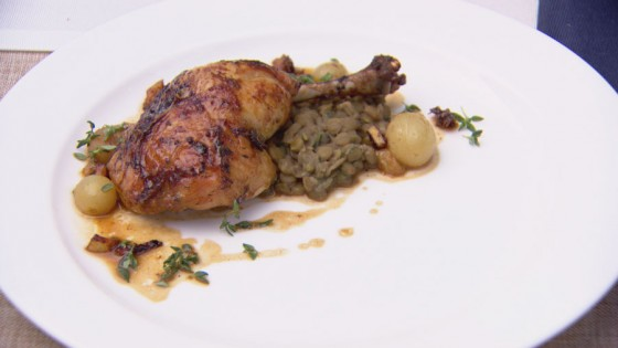 Roast Chicken with Prosecco and Grape Jus, Candied Lemon and Lentils