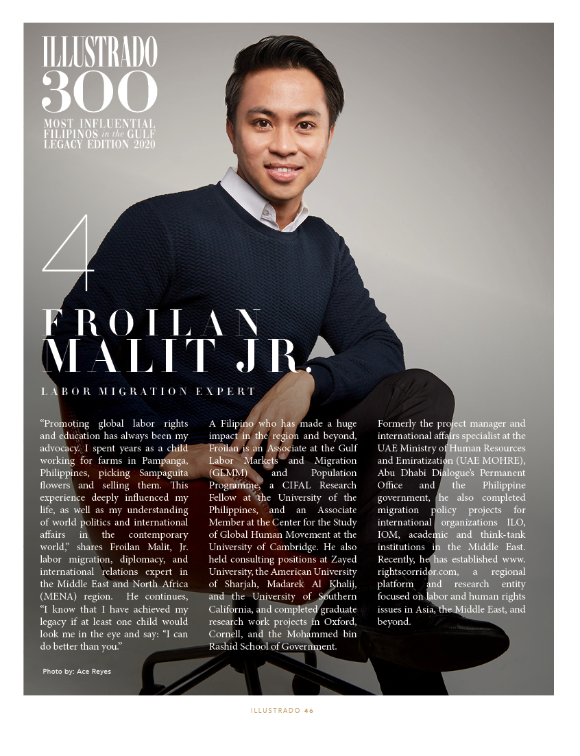 Froilan Malit - Illustrado 300 Most Influential Filipinos in the Gulf