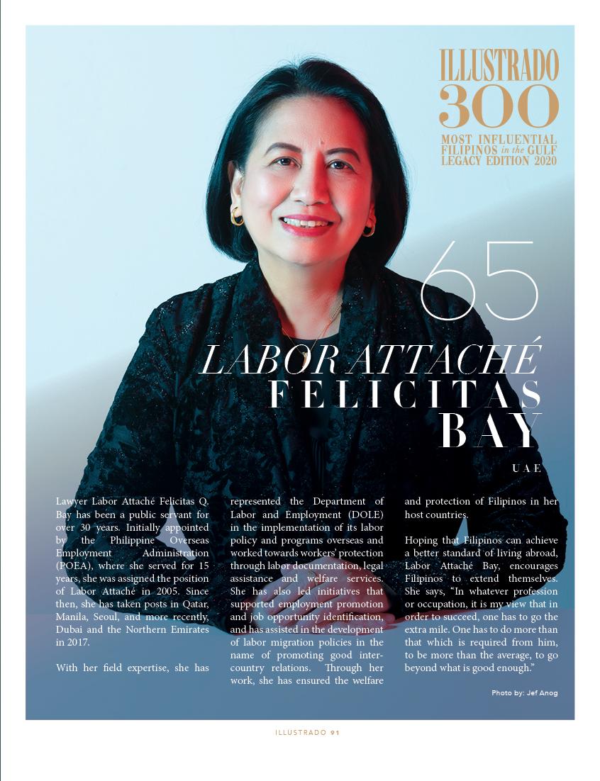 Labor Attaché Felicitas Q. Bay - Illustrado 300 Most Influential Filipinos in the Gulf