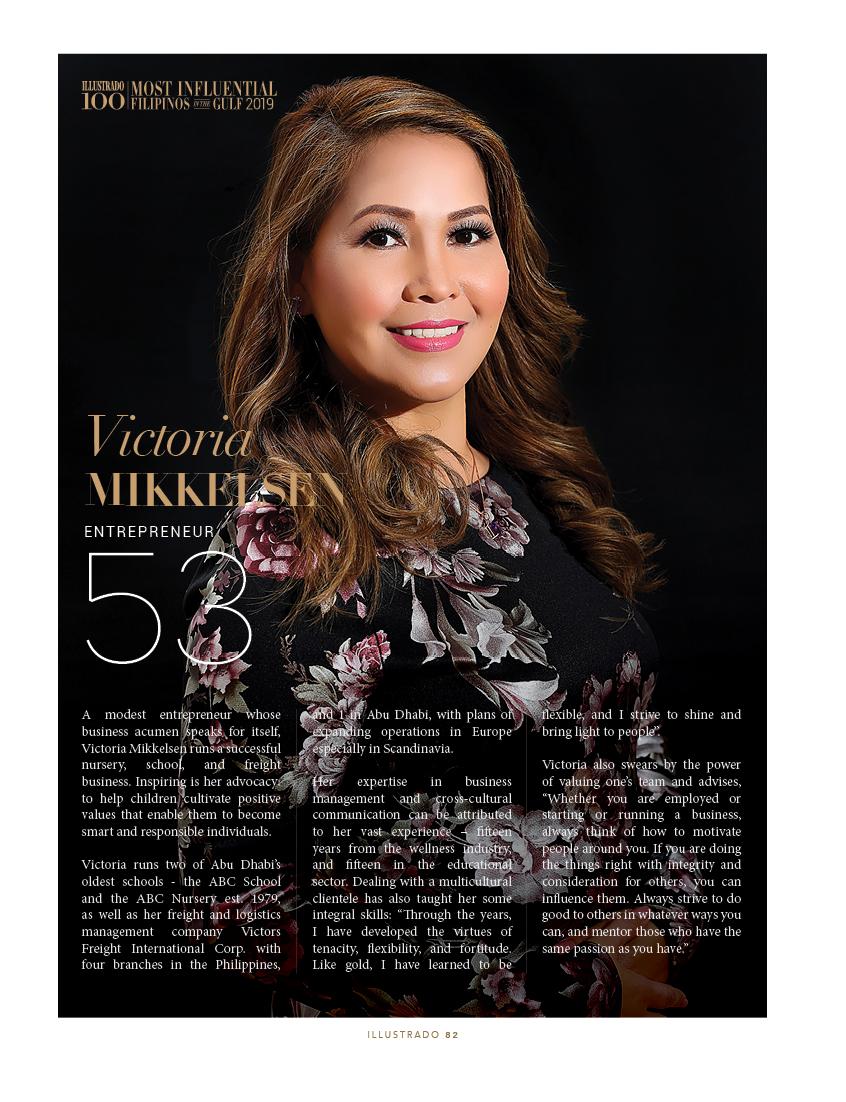 Victoria Mikkelsen - Most Influential Filipinos in the Gulf 2018