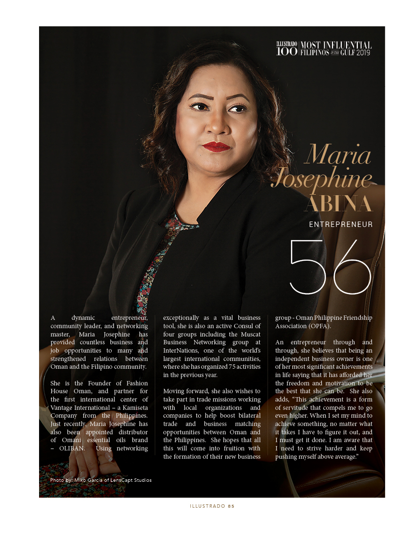 Maria Josephine Abina - Most influential Filipinos in the Gulf 2018
