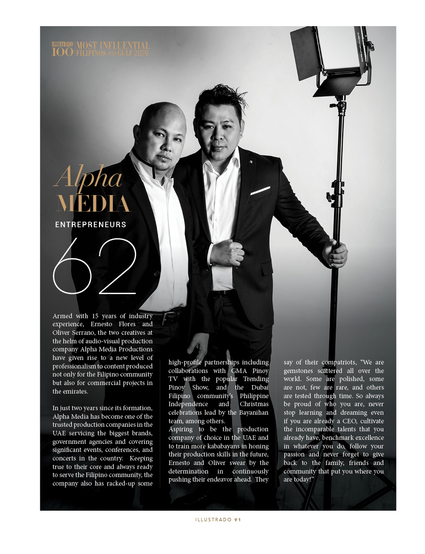 Alpha Media Productions - Most Influential Filipinos in the Gulf 2018