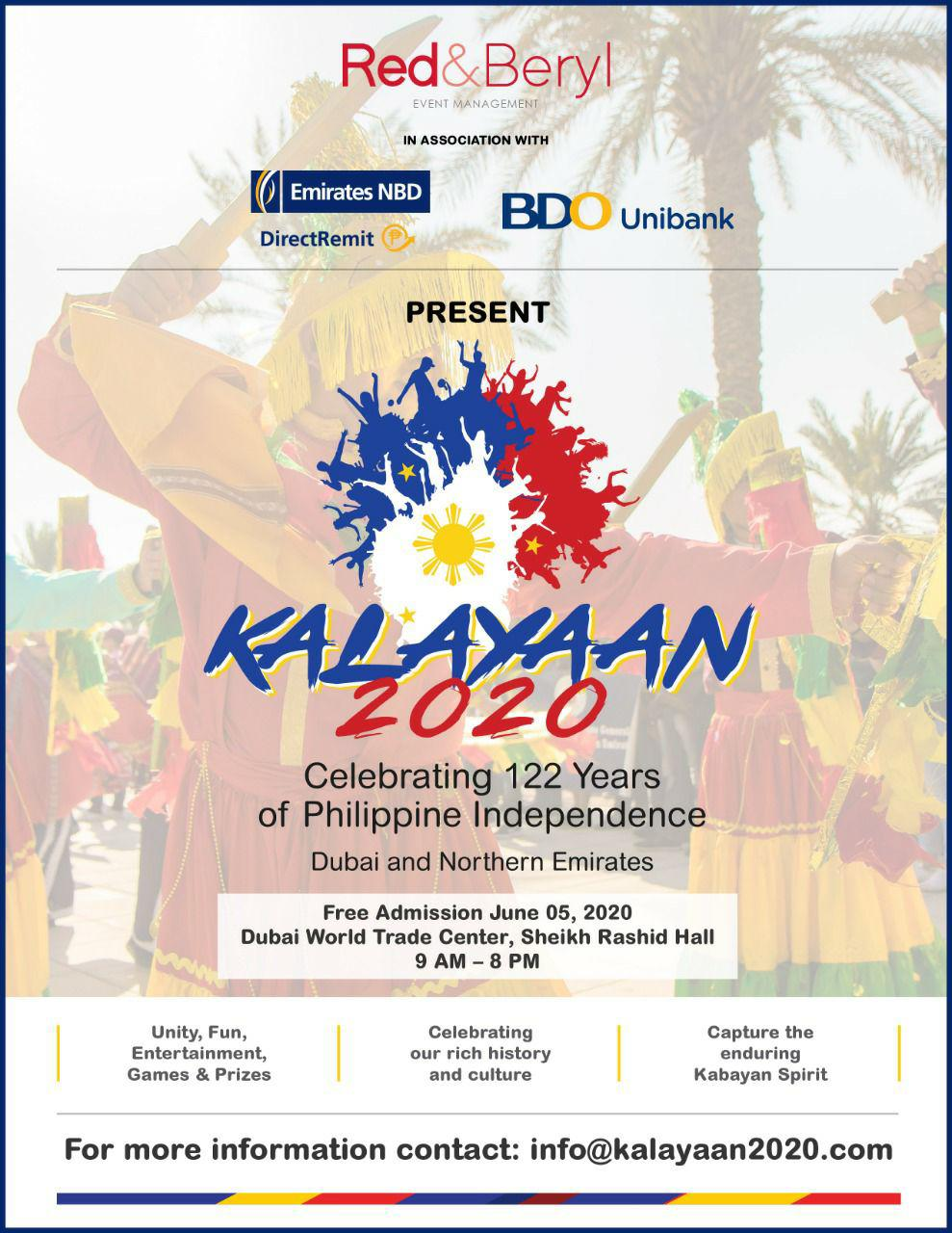 UAE Filipino expats to embrace the spirit of togetherness at Kalayaan 2020 PID Celebrations