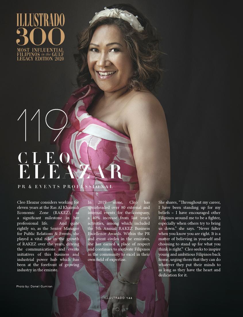 Cleo Eleazar - Illustrado 300 Most Influential Filipinos in the Gulf